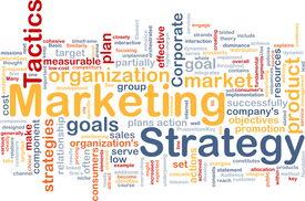 foto of marketing plan  - Word cloud concept illustration of marketing strategy - JPG
