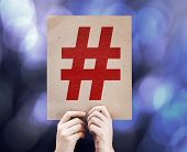 pic of hashtag  - Hashtag Icon written on colorful background with defocused lights - JPG