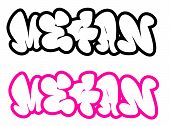the name Megan in graffiti style funny bubble fonts