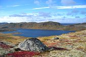pic of mountain chain  - This photo was taken in the north of Kola Peninsula in Russia end of September 2014 - JPG