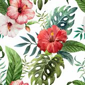 stock photo of jungle flowers  - Beautiful vector pattern with tropic leafs on white fon - JPG
