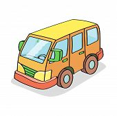 picture of motor-bus  - Cartoon Bus  Colored isolated on white background - JPG
