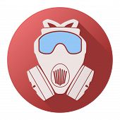 picture of respiration  - Flat icon of gas mask respirator - JPG