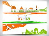 stock photo of indian independence day  - Website header or banner design in Indian tricolors for Indian Republic Day and Independence Day celebrations - JPG