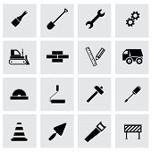 foto of skid-steer  - Vector black construction icons set on grey background - JPG