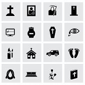 image of hearse  - Vector black funeral icons set on grey background - JPG