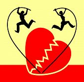 picture of split ends  - Humorous concept sign of a couple splitting up with the symbol of a broken heart - JPG