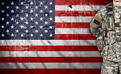 pic of soldier  - USA soldier on a american flag background - JPG