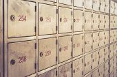image of old post office  - Post box with number Retro filter effect - JPG