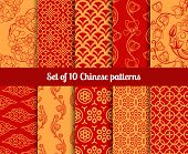 foto of wallpaper  - Chinese vector seamless patterns - JPG