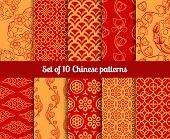 stock photo of chinese zodiac  - Chinese vector seamless patterns - JPG