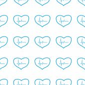 picture of heartbeat  - Unique Heartbeat white and blue seamless pattern for web design - JPG