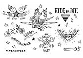 picture of silkscreening  - Traditional tattoo biker set of design elements - JPG