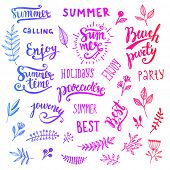 stock photo of beach party  - Summer Calligraphic Designs Set with Flowers - JPG