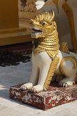 stock photo of yangon  - Chinthe leogryph protects the pagodaShwedagon Pagoda Yangon  - JPG