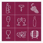 image of wine grapes  - Set of wine making icons - JPG