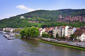 picture of barge  - Barges in the river and cityscape of european city in summer Heidelberg - JPG