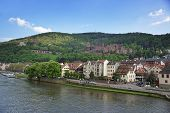 stock photo of barge  - Quay and barge in the river and quay of european city in summer Heidelberg - JPG