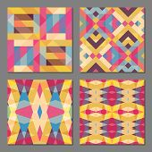 picture of color geometric shape  - Set of 4 abstract geometric patterns - JPG