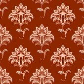 stock photo of leafy  - Elegant oriental stylized floral seamless pattern with delicate pink flowers on wavy leafy stems on titian background suitable for textile or interior accessories design - JPG