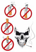 stock photo of kill  - Smoking kills and no smoking concepts in cartoon style with cigarettes in prohibition signs and spooky skull with cigarette for healthcare concept design - JPG