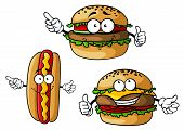pic of hamburger  - Funny hamburgers and hot dog cartoon characters with appetizing patties - JPG