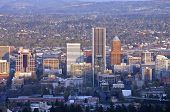 image of portland oregon  - Portland Oregon downtown skyline from Pittock Mansion. ** Note: Soft Focus at 100%, best at smaller sizes - JPG