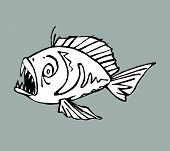 picture of piranha  - Hand drawn vector illustration of a piranha - JPG