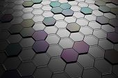 stock photo of fi  - Abstract 3d rendering of futuristic surface with hexagons - JPG
