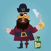 stock photo of saber  - funny cartoon pirate with a saber and a bottle of rum - JPG
