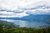 pic of gunung  - lake Batur in a volcano crater  - JPG