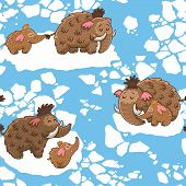 stock photo of mammoth  - Baby seamless pattern with mammoths in vector - JPG