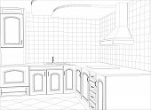foto of interior sketch  - Kitchen vector sketch interior - JPG