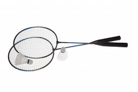 stock photo of shuttlecock  - Badminton rackets and shuttlecock isolated on white background