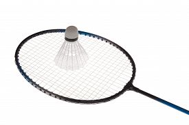 stock photo of shuttlecock  - Badminton rackets and shuttlecock isolated on white background - JPG