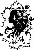picture of drow  - Doodle grafic drowing of beautifull woman with flowers in her hair - JPG