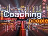 pic of mentoring  - Background concept wordcloud illustration of coaching glowing light - JPG