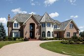 picture of turret arch  - Large home in suburbs with turret and arched entry - JPG