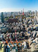 Постер, плакат: Tokyo Tower Japan Tokyo City Skyline And Cityscape
