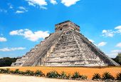 Ancient Mayan pyramid (Kukulcan Temple), Chichen Itza, Yucatan, Mexico. UNESCO world heritage site poster