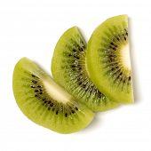 Three peeled kiwi fruit slices isolated on white background closeup. Half of kiwi slice. Kiwifruit s poster