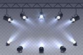 Realistic Spotlights Isolated On Transparent Background. Scene Illumination. Suspended And Standing  poster