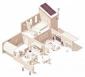 Vector Isometric Smart Home Illustration. House Cross-section, Garage, Kitchen, Living Room, Bedroom poster