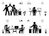 Stick Figure Business Office Vector Icon Pictogram On White. Men And Women Happy, Working, Sitting,  poster