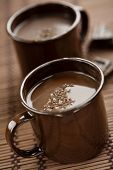 pic of hot-chocolate  - cups of hot chocolate with chocolate shavings - JPG