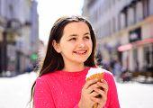I Love Ice Cream. Happy Girl Child Eating Ice Cream In Hot Weather. Enjoying Frozen Food Snack Or De poster