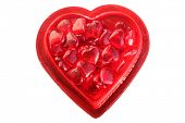 Valentines Day. Valentines Day glass red hearts in a red valentines day heart shaped gift box. isola poster