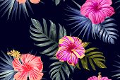 Green Red Exotic Pattern. Monstera Leaves And Hibiscus Flowers In Summer Print.  Hawaiian T-shirt An poster