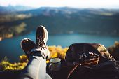 View Trekking Feet Tourist Backpack Photo Camera In Auto On Background Panoramic Landscape Mountain, poster
