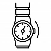 Gold Rap Watch Icon. Outline Gold Rap Watch Vector Icon For Web Design Isolated On White Background poster